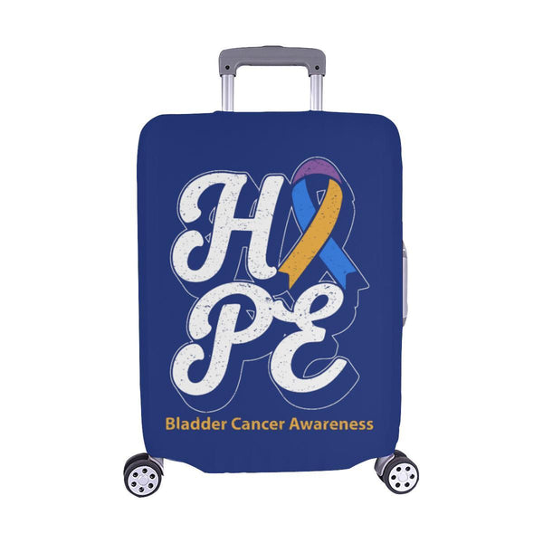 Blue Yellow Purple Ribbon Hope Bladder Cancer Travel Luggage Cover Protector-M-Navy-JoyHip.Com