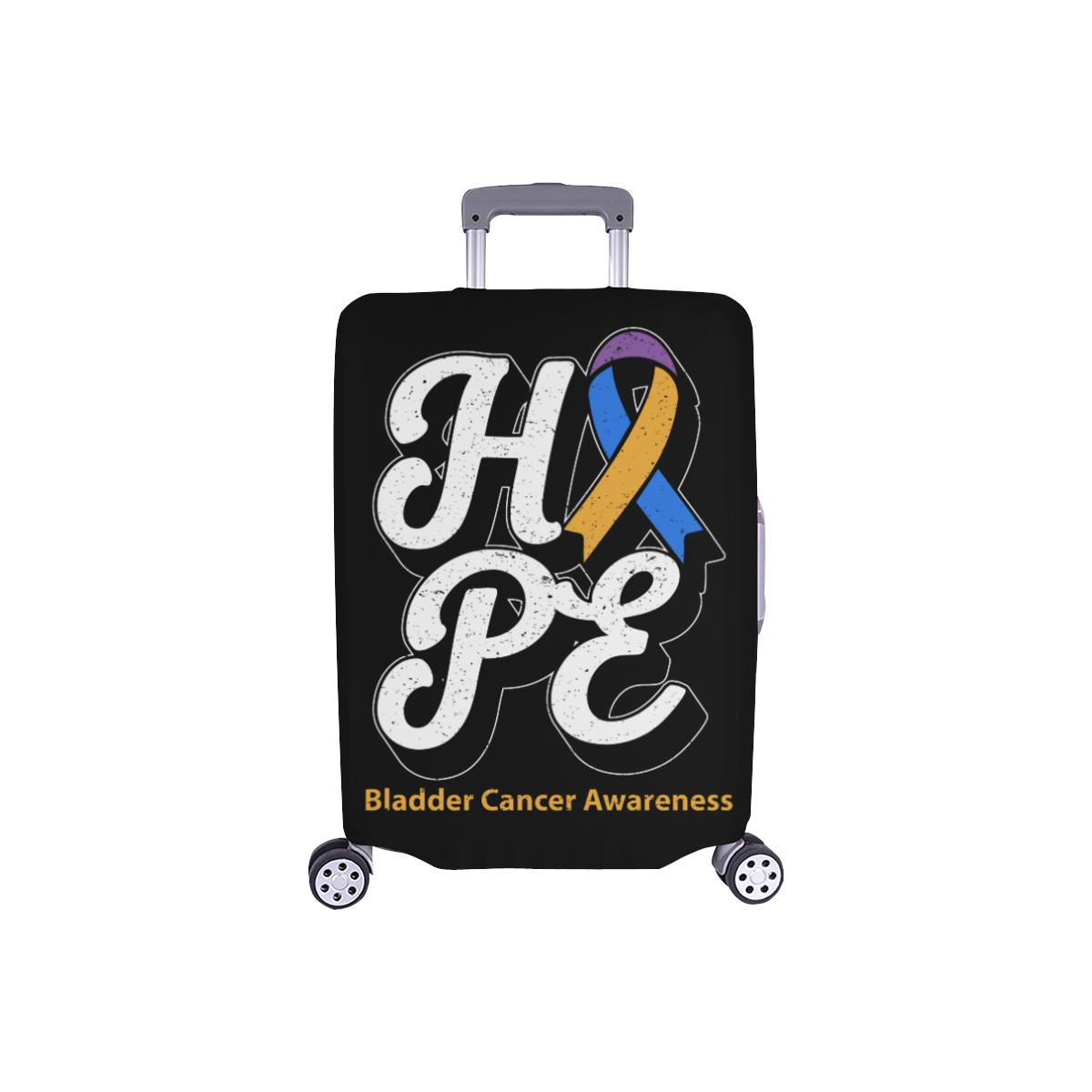 Blue Yellow Purple Ribbon Hope Bladder Cancer Travel Luggage Cover Protector-S-Black-JoyHip.Com