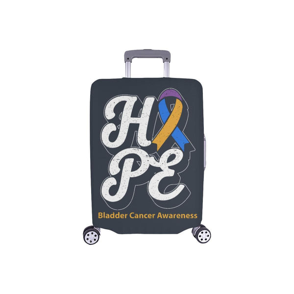 Blue Yellow Purple Ribbon Hope Bladder Cancer Travel Luggage Cover Protector-S-Grey-JoyHip.Com