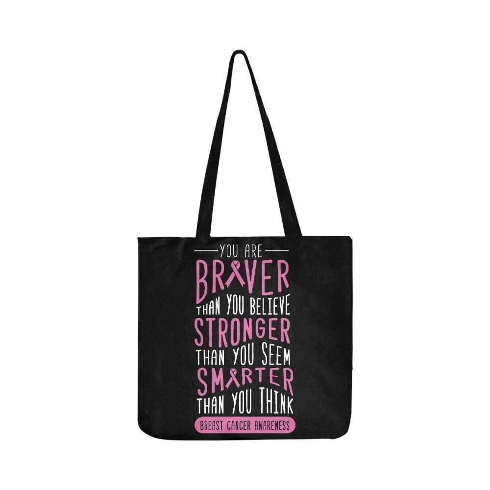 Braver Stronger Smarter Breast Cancer Awareness Grocery Reusable Produce Bags-One Size-Black-JoyHip.Com