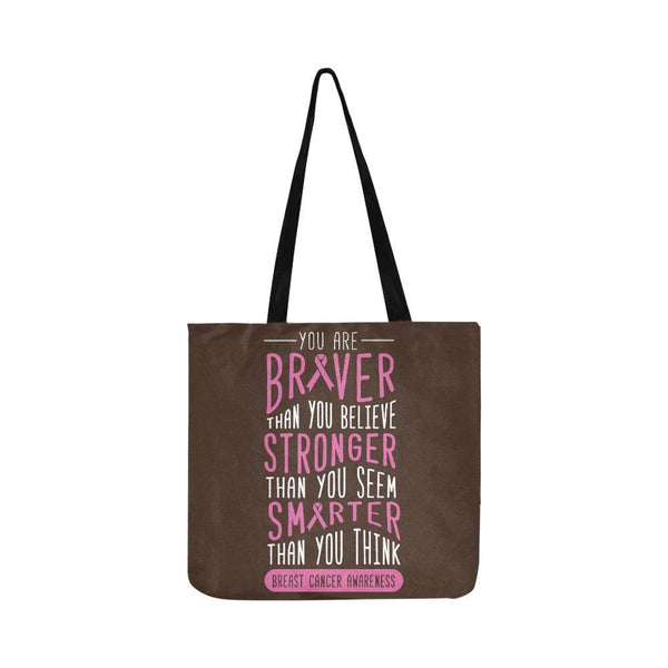 Braver Stronger Smarter Breast Cancer Awareness Grocery Reusable Produce Bags-One Size-Brown-JoyHip.Com