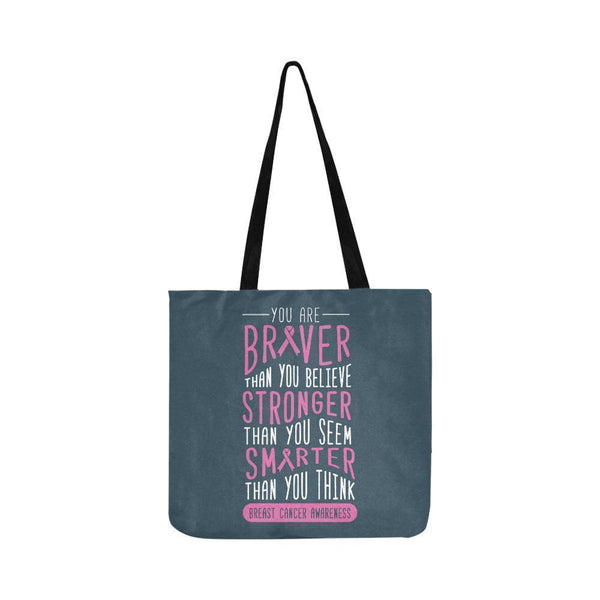 Braver Stronger Smarter Breast Cancer Awareness Grocery Reusable Produce Bags-One Size-Grey-JoyHip.Com