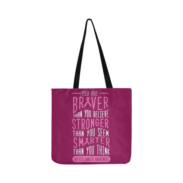 Braver Stronger Smarter Breast Cancer Awareness Grocery Reusable Produce Bags-One Size-Maroon-JoyHip.Com