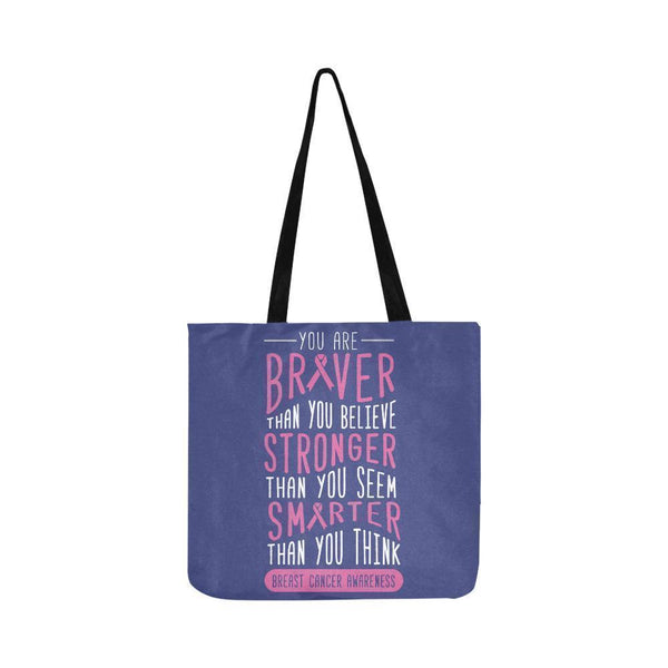 Braver Stronger Smarter Breast Cancer Awareness Grocery Reusable Produce Bags-One Size-Orchid-JoyHip.Com