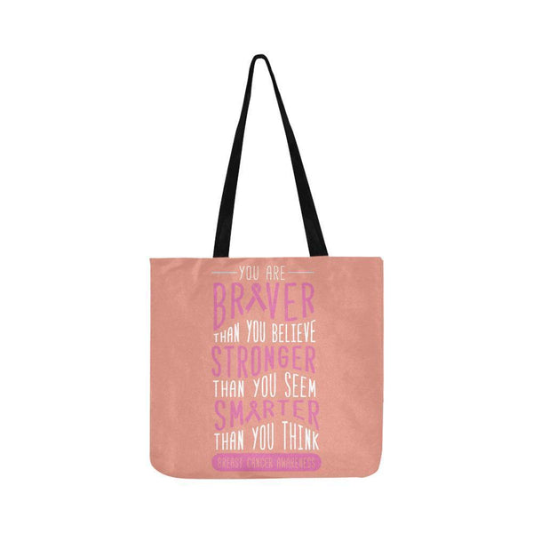 Braver Stronger Smarter Breast Cancer Awareness Grocery Reusable Produce Bags-One Size-Peach-JoyHip.Com