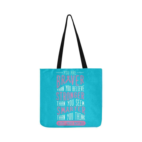 Braver Stronger Smarter Breast Cancer Awareness Grocery Reusable Produce Bags-One Size-Turquoise-JoyHip.Com