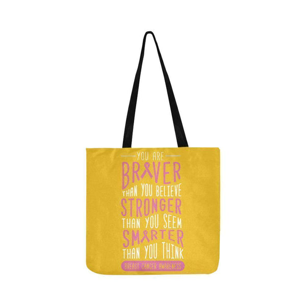 Braver Stronger Smarter Breast Cancer Awareness Grocery Reusable Produce Bags-One Size-Yellow-JoyHip.Com