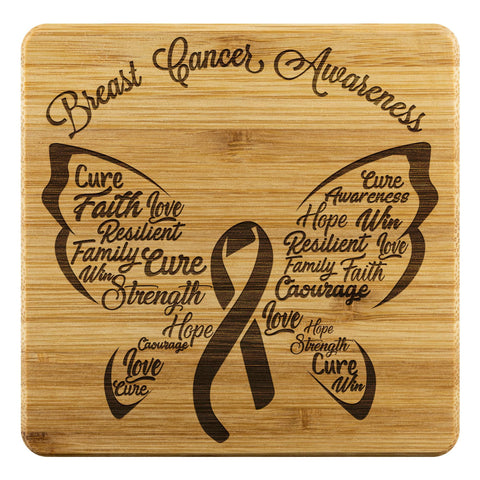 Breast Cancer Awareness Butterfly Pink Ribbon Drink Coasters Set Gifts Idea-Coasters-Bamboo Coaster - 4pc-JoyHip.Com