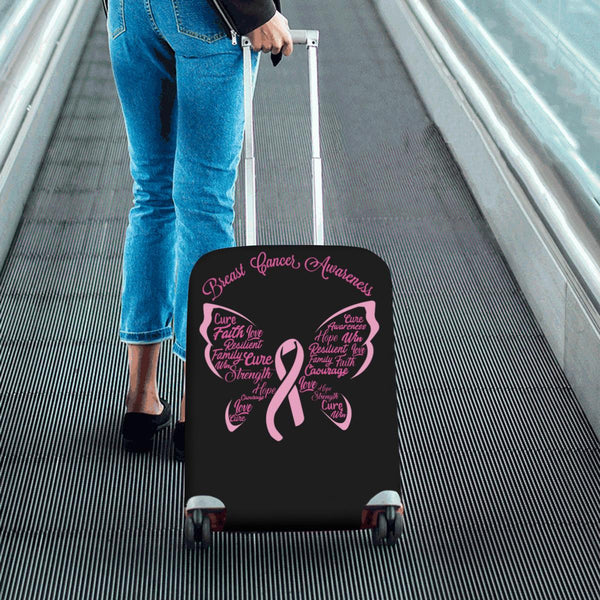 Breast Cancer Awareness Butterfly Pink Ribbon Travel Luggage Cover Protector-JoyHip.Com