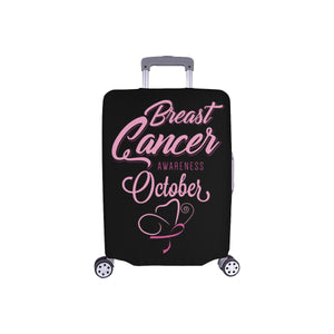 "Breast Cancer Awareness October Travel Luggage Cover Suitcase Protector 18""-28""-S-Black-JoyHip.Com"