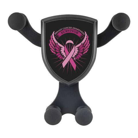 Breast Cancer Awareness Survivor Pink Ribbon Angel Wings Qi Wireless Car Charger-Gravitis Car Charger-Gravitis - Wireless Car Charger-JoyHip.Com