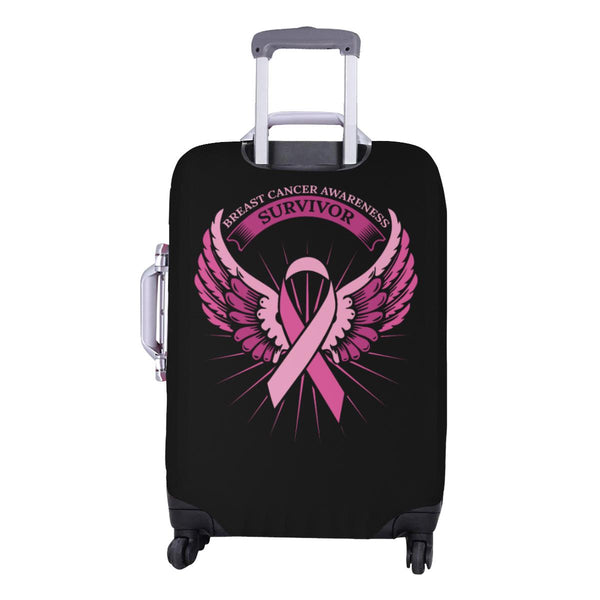 Breast Cancer Awareness Survivor Pink Ribbon Angel Wings Travel Luggage Cover-JoyHip.Com