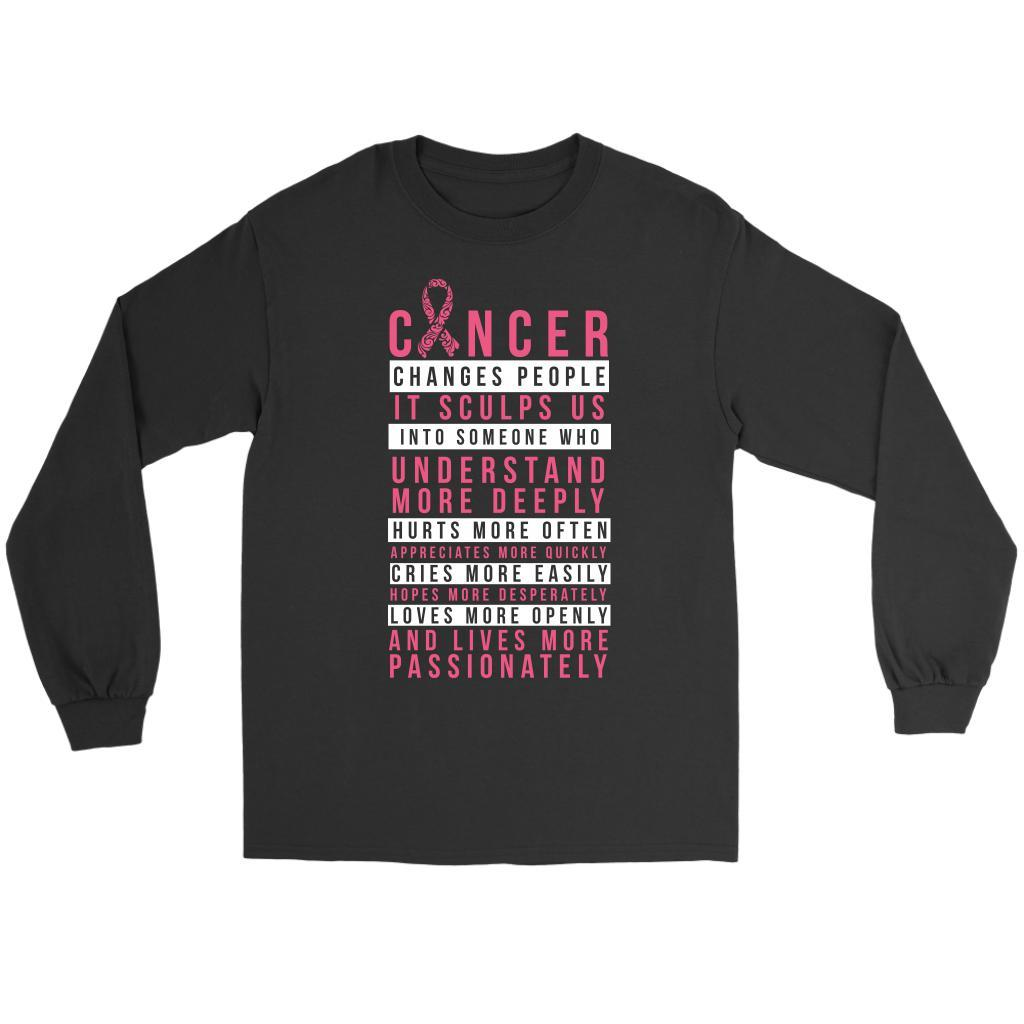 Breast Cancer Changes People Appreciates More Quickly Gift Ideas Long Sleeve-T-shirt-Gildan Long Sleeve Tee-Black-JoyHip.Com