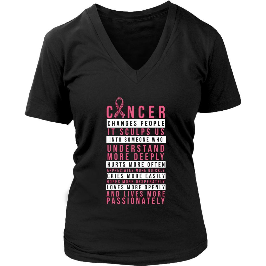 Breast Cancer Changes People Appreciates More Quickly Gift Ideas VNeck TShirt-T-shirt-District Womens V-Neck-Black-JoyHip.Com