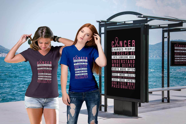 Breast Cancer Changes People Appreciates More Quickly Gift Ideas VNeck TShirt-T-shirt-JoyHip.Com