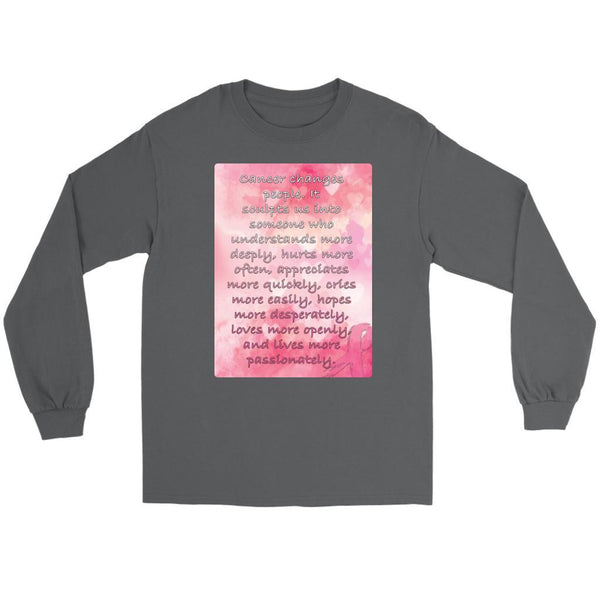 Breast Cancer Changes People Understand More Deeply Cool Gift Ideas Long Sleeve-T-shirt-Gildan Long Sleeve Tee-Grey-JoyHip.Com