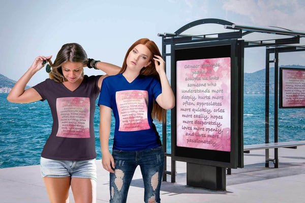 Breast Cancer Changes People Understand More Deeply Cool Gift Ideas VNeck TShirt-T-shirt-JoyHip.Com
