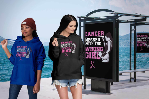 Breast Cancer Messed With The Wrong Girl Gift Ideas Soft & Comfy Hoodie-T-shirt-JoyHip.Com