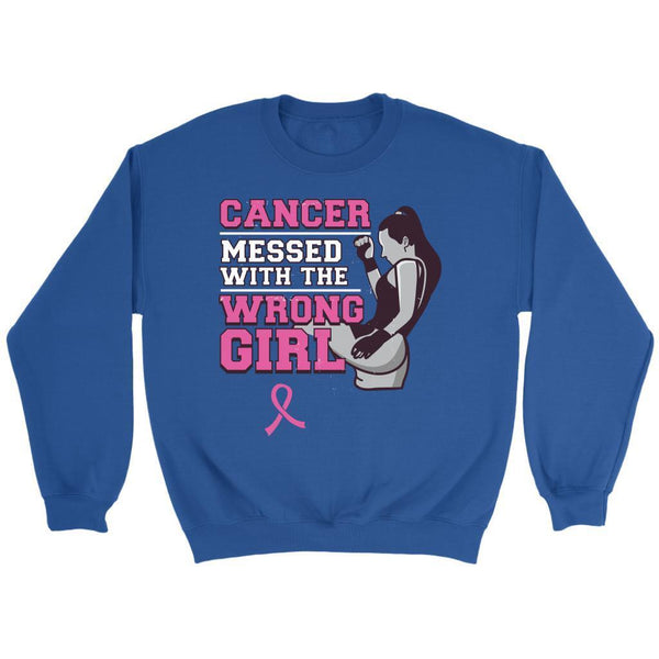 Breast Cancer Messed With The Wrong Girl Gift Ideas Soft & Comfy Sweater-T-shirt-Crewneck Sweatshirt-Royal Blue-JoyHip.Com