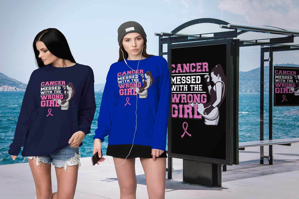 Breast Cancer Messed With The Wrong Girl Gift Ideas Soft & Comfy Sweater-T-shirt-JoyHip.Com