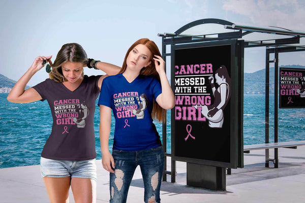 Breast Cancer Messed With The Wrong Girl Gift Ideas Soft & Comfy VNeck TShirt-T-shirt-JoyHip.Com