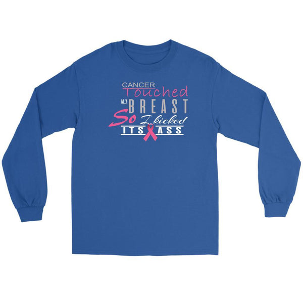Breast Cancer Touched My Breast So I Kicked Its Ass Cool Gift Ideas Long Sleeve-T-shirt-Gildan Long Sleeve Tee-Royal Blue-JoyHip.Com