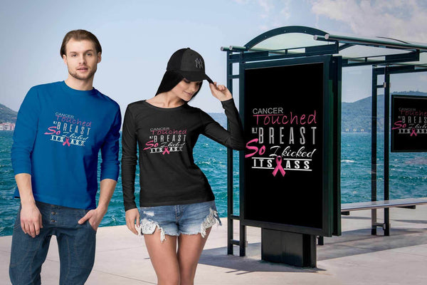 Breast Cancer Touched My Breast So I Kicked Its Ass Cool Gift Ideas Long Sleeve-T-shirt-JoyHip.Com