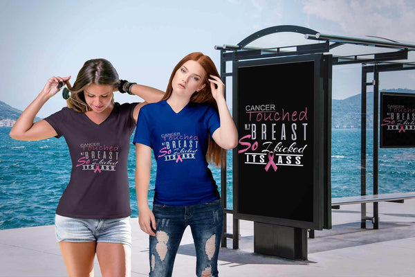 Breast Cancer Touched My Breast So I Kicked Its Ass Cool Gift Ideas VNeck TShirt-T-shirt-JoyHip.Com