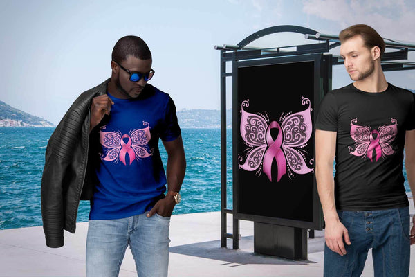 Butterfly Elegant Pink Ribbon Breast Cancer Awareness Cool Gift Ideas TShirt-T-shirt-JoyHip.Com