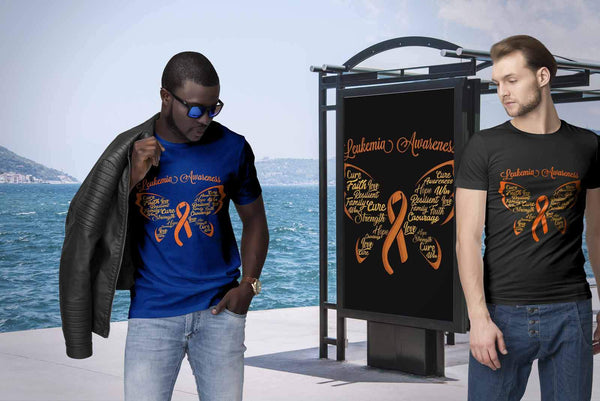 Butterfly Leukemia Awareness Orange Ribbon Awesome Men Unisex TShirt-T-shirt-JoyHip.Com