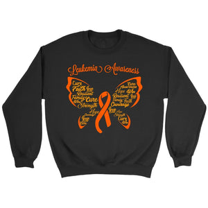 Butterfly Leukemia Awareness Orange Ribbon Unisex Crewneck Sweater-T-shirt-Crewneck Sweatshirt-Black-JoyHip.Com