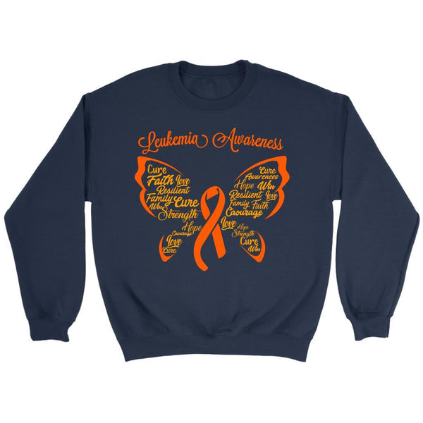 Butterfly Leukemia Awareness Orange Ribbon Unisex Crewneck Sweater-T-shirt-Crewneck Sweatshirt-Navy-JoyHip.Com
