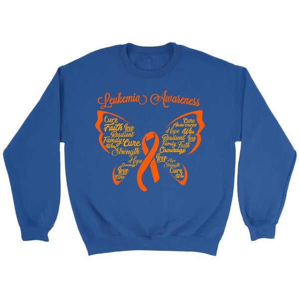 Butterfly Leukemia Awareness Orange Ribbon Unisex Crewneck Sweater-T-shirt-Crewneck Sweatshirt-Royal Blue-JoyHip.Com