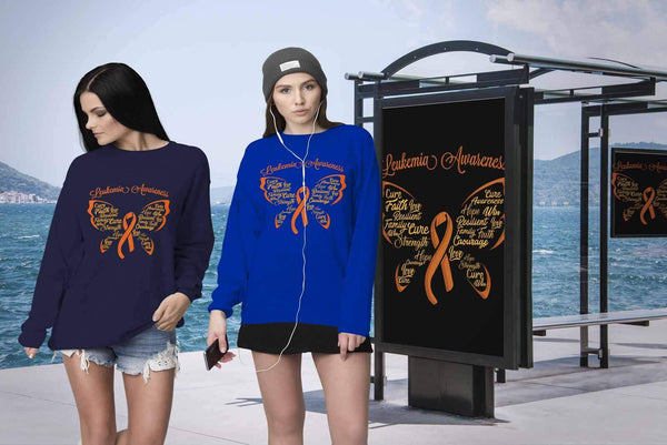 Butterfly Leukemia Awareness Orange Ribbon Unisex Crewneck Sweater-T-shirt-JoyHip.Com