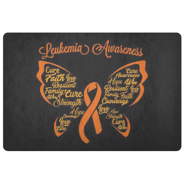 Butterfly Orange Ribbon Leukemia Cancer 18X26 Indoor Door Mat Room Entryway Rug-Doormat-Black-JoyHip.Com