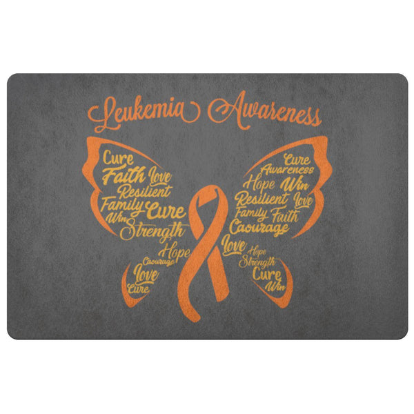 Butterfly Orange Ribbon Leukemia Cancer 18X26 Indoor Door Mat Room Entryway Rug-Doormat-Grey-JoyHip.Com