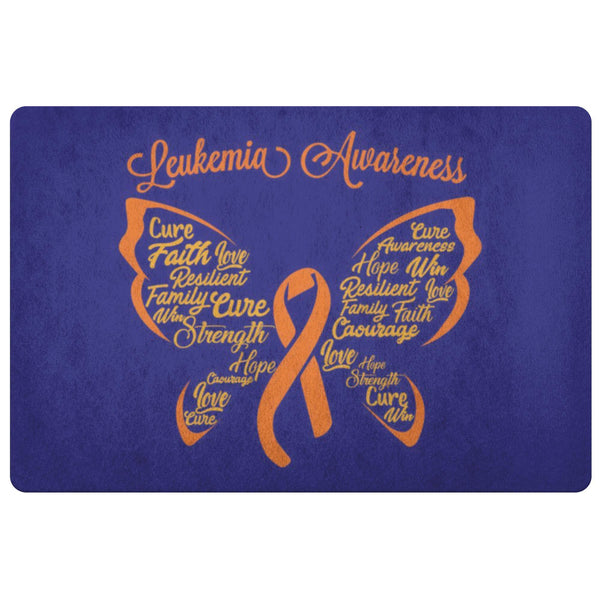 Butterfly Orange Ribbon Leukemia Cancer 18X26 Indoor Door Mat Room Entryway Rug-Doormat-Navy-JoyHip.Com