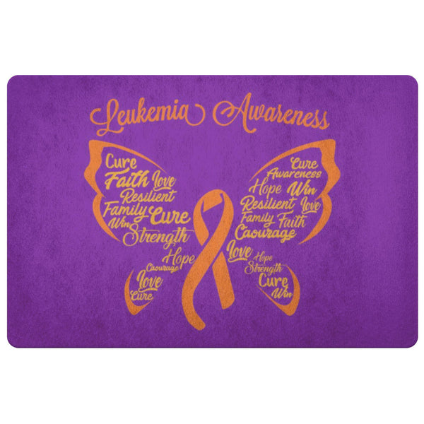 Butterfly Orange Ribbon Leukemia Cancer 18X26 Indoor Door Mat Room Entryway Rug-Doormat-Purple-JoyHip.Com