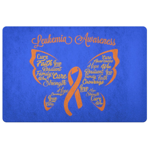 Butterfly Orange Ribbon Leukemia Cancer 18X26 Indoor Door Mat Room Entryway Rug-Doormat-Royal Blue-JoyHip.Com