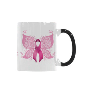 Butterfly Pink Ribbon Breast Cancer Awareness Color Changing/Morphing 11oz Coffee Mug-Morphing Mug-One Size-JoyHip.Com