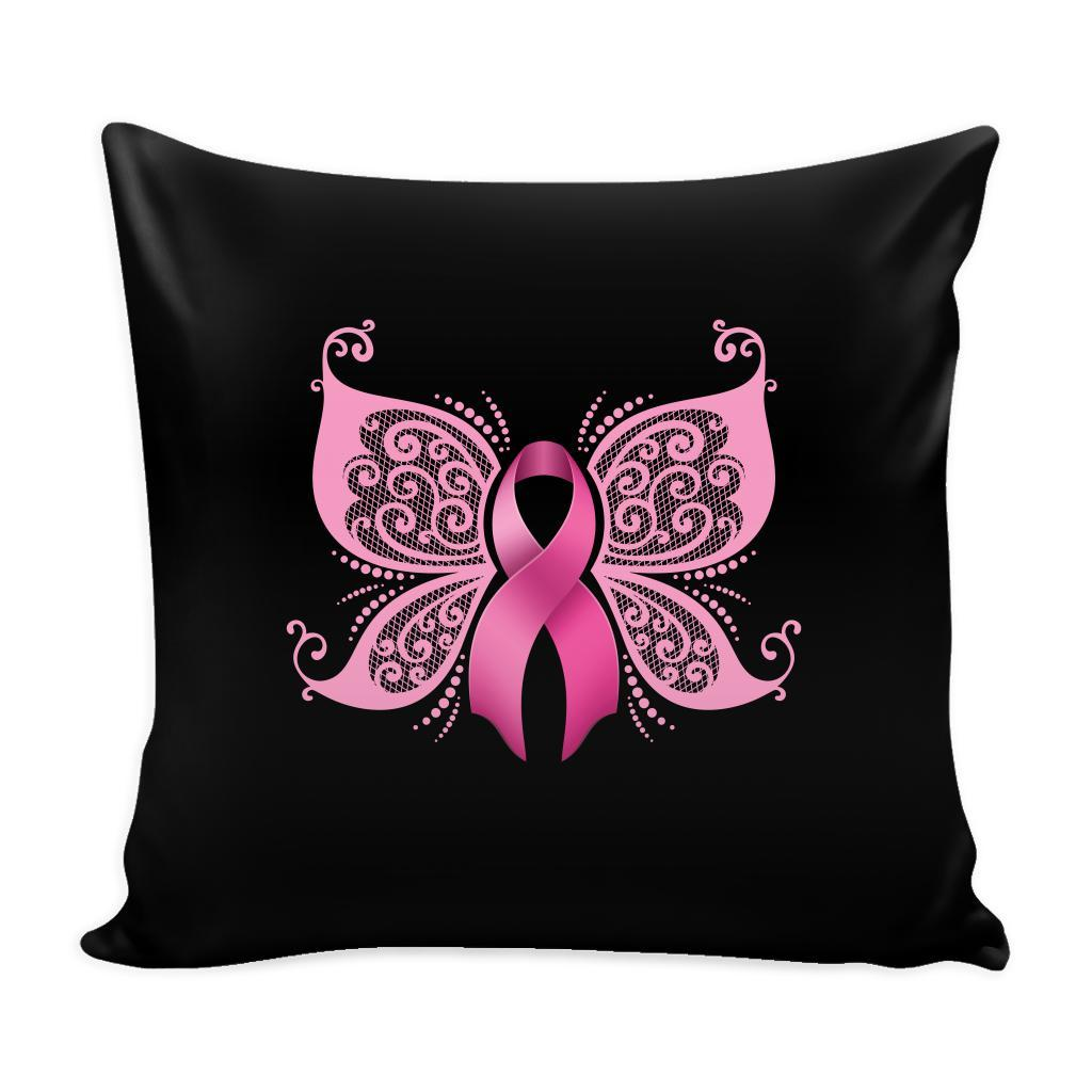 Travel Pillow Case  Standard or Queen Pillow Case   Pink Ribbon with Butterfly/'s