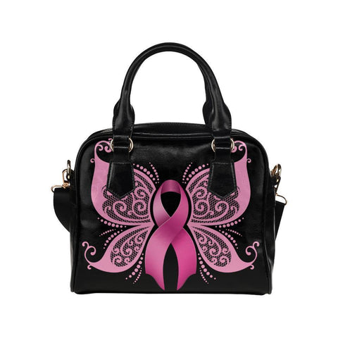 Butterfly Pink Ribbon Breast Cancer Awareness Shoulder/Crossbody Handbags For Women (8 colors)-One size-Black-JoyHip.Com