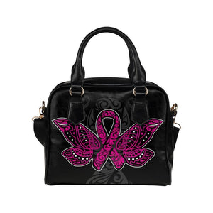 Butterfly Pink Ribbon V2 Breast Cancer Awareness Shoulder/Crossbody Handbags For Women (8 colors)-One size-Black-JoyHip.Com