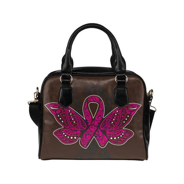 Butterfly Pink Ribbon V2 Breast Cancer Awareness Shoulder/Crossbody Handbags For Women (8 colors)-One size-Brown-JoyHip.Com