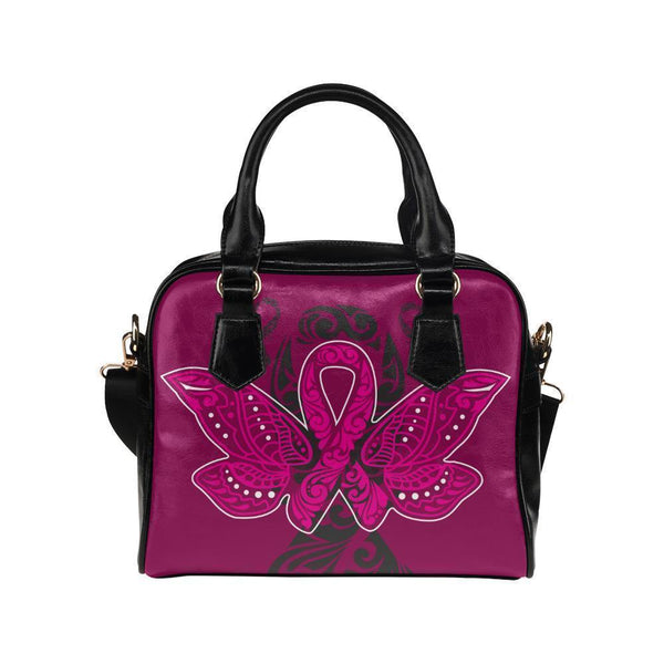 Butterfly Pink Ribbon V2 Breast Cancer Awareness Shoulder/Crossbody Handbags For Women (8 colors)-One size-Maroon-JoyHip.Com