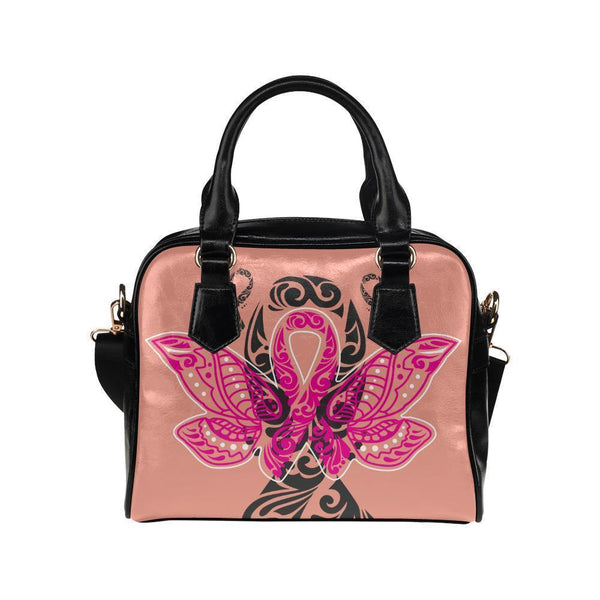 Butterfly Pink Ribbon V2 Breast Cancer Awareness Shoulder/Crossbody Handbags For Women (8 colors)-One size-Peach-JoyHip.Com