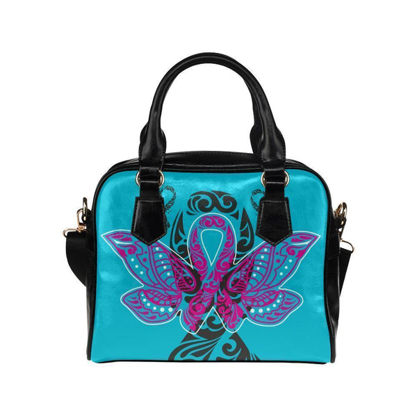 Butterfly Pink Ribbon V2 Breast Cancer Awareness Shoulder/Crossbody Handbags For Women (8 colors)-One size-Turquoise-JoyHip.Com