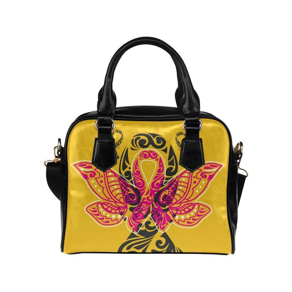 Butterfly Pink Ribbon V2 Breast Cancer Awareness Shoulder/Crossbody Handbags For Women (8 colors)-One size-Yellow-JoyHip.Com