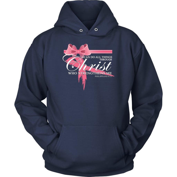 Can Do All Things Through Christ Who Strengthens Me Philippians 4:13 Hoodie-T-shirt-Unisex Hoodie-Navy-JoyHip.Com