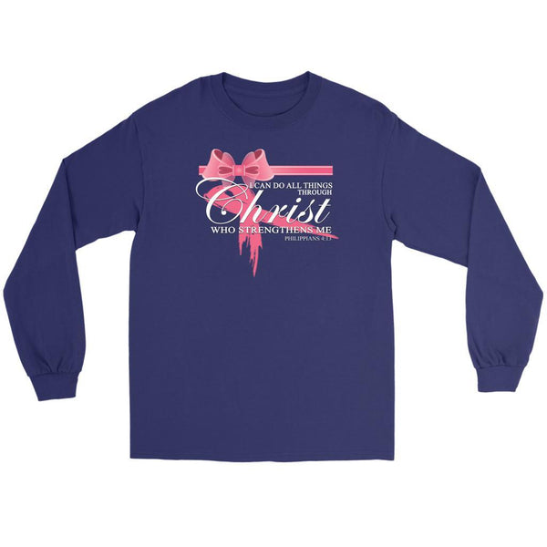 Can Do All Things Through Christ Who Strengthens Me Philippians4:13 Long Sleeve-T-shirt-Gildan Long Sleeve Tee-Purple-JoyHip.Com